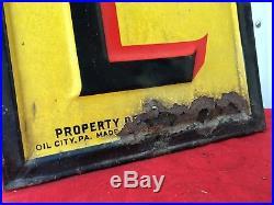 Large PENNZOIL MOTOR OIL Tin SIGN on Wood Frame ORIGINAL 58 X 10