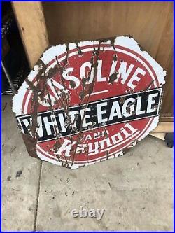 Large Porcelain White Eagle Gasoline Motor Oil Company Gas Station Sign Original