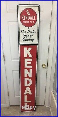Large Vintage Kendall Motor Oil Gas Station 72 Metal Sign Gas Dealer Quality