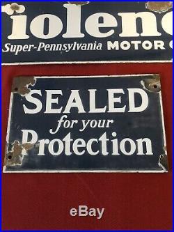 Lot Of 2 Tiolene Motor Oil Porcelain Oil Rack Signs Vintage Authentic Signs