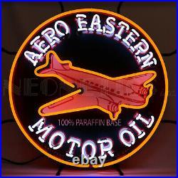 Neon Sign Aero Eastern Aviation Motor Oil Gas Gasoline Hanger Garage Airplane
