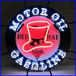 Neon sign Independent Red Hat Motor oil and Gas Gasoline wall lamp light Globe