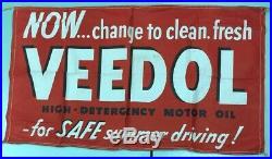 Nice Vtg 1950s Large Veedol Advertising Banner Sign Motor Oil Gas Garage 34 X 58