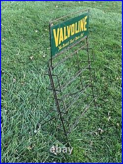 Nice Vtg 40s 50s VALVOLINE MOTOR OIL Display Rack with Sign Topper 4 Quart Cans