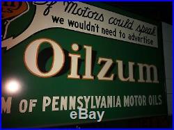 OILZUM Motor Oil, The Cream of Penn Motor Oils, Wood Frame, Tin Sign, Pre Owned