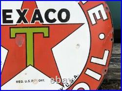 ORIGINAL Vintage 42 TEXACO GASOLINE MOTOR OIL Sign OLD PORCELAIN Garage Mancave