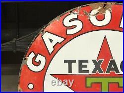 ORIGINAL Vintage 42 TEXACO GASOLINE MOTOR OIL Sign PORCELAIN Garage Mancave OLD