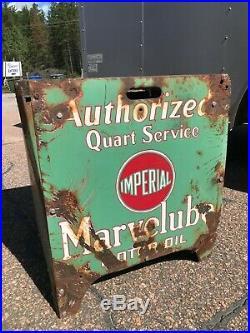ORIGINAL Vintage MARVELUBE IMPERIAL MOTOR OIL Rack Porcelain SIGN Gas Display