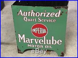 ORIGINAL Vintage MARVELUBE IMPERIAL MOTOR OIL Rack Porcelain SIGNS Gas Display