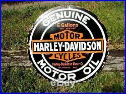 Old Heavy Large Harley Davidson Porcelain Vintage Motor Oil Can Metal Sign