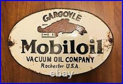 Old Motor Oil Advertising Enamel Sign Mobiloil Gargoyle Vacuum Oil Company
