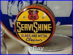 Old Phillips 66 ServiShine Metal Motor Oil Polish Can TAC AUTHENTIC Original