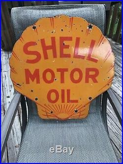 Old Shell Motor Oil Curb Porcelain Sign