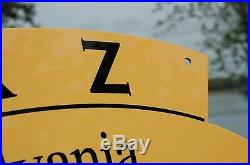Old Style Pennzoil Sound Your Z Motor Oil Two-sided Swinger Sign Made In USA