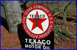 Old Style Texaco Motor Oil Gasoline Black T Flange Thick Steel Sign Made In USA
