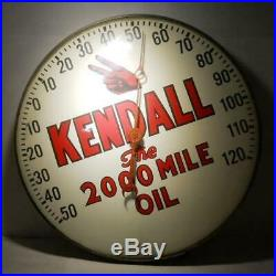 Old original Kendall Motor Oil Thermometer The 2000 mile oil 12 in. Round