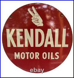 Orig Kendall Motor Oils 24 Metal Gas Station Advertising Sign 2 Sided