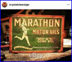 Original 1920s Tin Marathon Tacker Motor Oil Service Station Advertising Sign