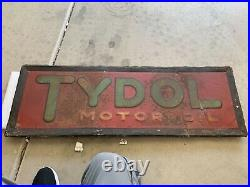 Original 1930's Embossed SST Tydol Motor Oil Strip Sign 42x14
