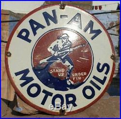 Original 1930's Old Vintage Rare PAN-AM Motor Oil Porcelain Enamel Sign Board