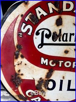 Original 1930's Standard Polarine Gasoline Motor Oil Porcelain Sign 30