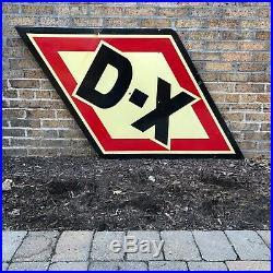 Original 1940s D-X Motor Oil Double Sided Porcelain Vintage Sign Gas Old