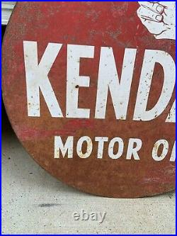 Original 1950s KENDALL Motor Oil Sign 24 Gas & Oil