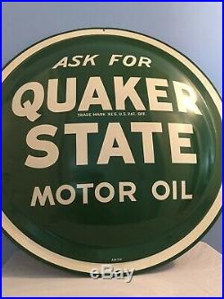 Original 1960s Vintage Quaker State Motor Oil 24 Convex Button Sign