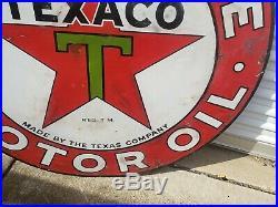 Original Antique Texaco Gasoline Motor Oil Porcelain Sign 42 Double Sided Real