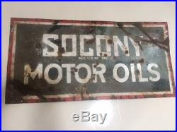 Original Early Socony Motor Oil Porcelain Steel Sign 18x36 Gasoline & Oil Statio