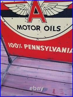 Original Flying A VEEDOL Motor Oil Tombstone Street Talker Sign vintage metal