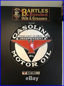 Original Independent Motor oil 32 Double Sided Porcelain Sign