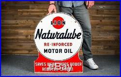 Original Lion Naturalube Motor Oil Tin Sign