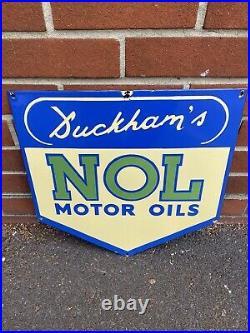 Original Rare Early DUCKHAMS NOL MOTOR OILS Enamel Sign Fantasitc Condition