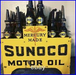 Original SUNOCO Motor Oil Porcelain Sign Lighted Oil Rack With Bottles Gas & Oil