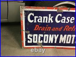 Original Socony Motor Oil Crank Case Service S/s Porcelain Sign