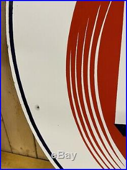 Original Standard RPM Motor Oil Porcelain 2-Sided 28 Sign Gasoline Sidewalk