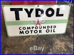 Original Tydol Compounded Motor Oil FLYING A SIGN! MINT! Porcelain sign