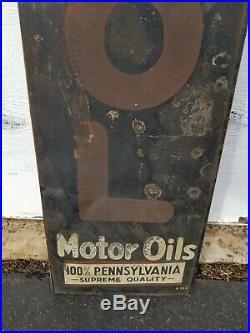 Original VEEDOL MOTOR OIL SIGN VERTICAL 100% Pennsylvania 71 inches TYDOL GAS