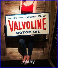 Original Valvoline Tin Sign 36x18 Motor Oil Gas Non Porcelain