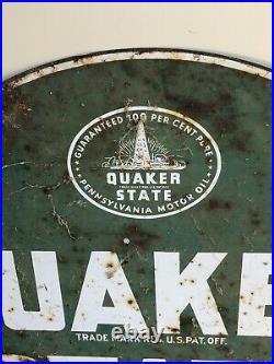 Original Vintage 1973 Quaker State Motor Oil Gas Station 2 Sided 29 Metal Sign