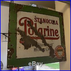 Original Vintage DSP Stanocola Polarine Motor Oil Flange Sign