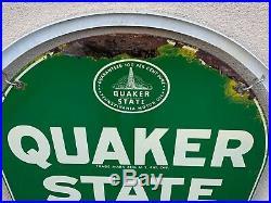 Original Vintage Quaker State Motor Oil 2 Sided Gas Station Metal Sign WithStand