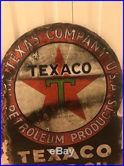 Origional Porcelain Texaco Motor Oil Flange Sign Gas Oil Hot Rod Man Cave USA Tx