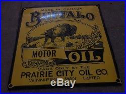 Porcelain Buffalo Motor Oil Enamel Sign 24 x 24 Inch