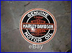 Porcelain Harley Davidson Motor Oil Enamel Sign Size 24 INCHE