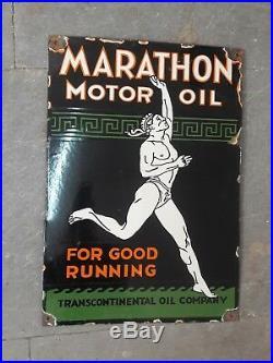 Porcelain Marathon motor oil Enamel Sign 13 X 18 inches