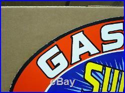 Porcelain Sign Sun-rae Gasoline Motor Oil F B Rae Oil Co Rochester N. Y. 24 X16