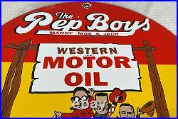 Porcelain Sign Vintage Pep Boys Western Motor Oil Gas Station Pump Plate Auto