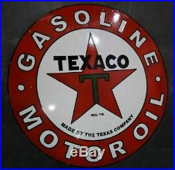Porcelain Texaco Gasoline Motor Oil Enamel sign 36 inch Round